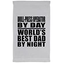 Dad Towel, Drill-Press Operator By Day World's Best Dad By Night - Kitchen Towel, Microfiber Velour Towel, Unique Gift Idea for Father, Husband by Daughter, Son, Wife