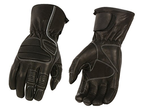 M-BOSS Motorcycle Apparel-BOS37500-BLACK-L-Men's Thermal Lined Padded Back Racing Glove w/Reflective Piping-BLACK-L
