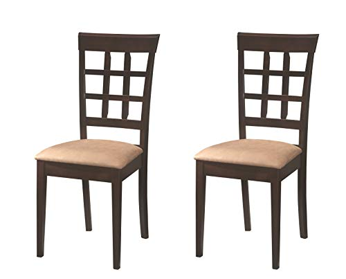- Gabriel Wheat Back Side Chairs Cappuccino and Beige (Set of 2)