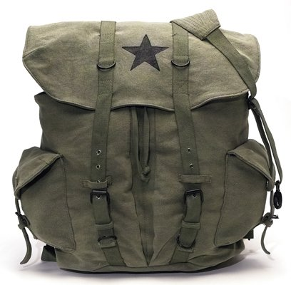 Olive Drab – Classic Army Style Backpack w/Black Star Emblem, Bags Central