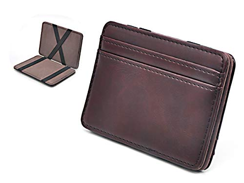Slim Money Clip Pocket Wallet Case for Men and Women, Minimalist Front Pocket Wallet with Card Slots, Genuine Leather (Dark brown)