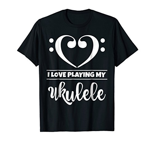 Double Bass Clef Heart I Love Playing My Hawaii Ukulele Music Lover T-Shirt