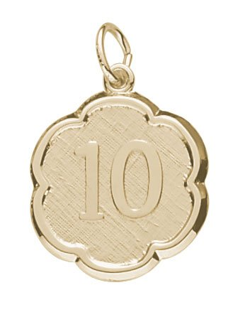 Rembrandt Charms Number 10 Charm, 14K Yellow Gold
