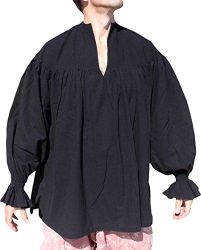 RaanPahMuang Renaissance Troubadour Deep Collar Long Sleeve Shirt in Cottons, X-Small, AumNungGop Cotton (Costume De Troubadour)