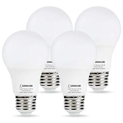 LOHAS Sensor Light Dusk Till Dawn LED Bulb, Light Sensor Porch Light Bulbs, A19 6W Daylight 5000K E26 LED Warm White 2700K, 40W Equivalent Smart Auto On/Off, Indoor Outdoor Yard Lighting, 4 Pack