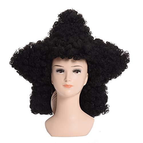 Wig Black Cosplay Explosive Head Curls Wig Network Halloween Hair Piece Star Shape Headgear Masquerade