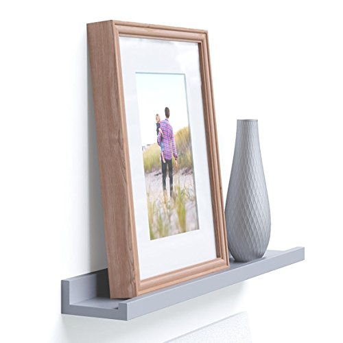 Wallniture Modern Design Floating Picture Display Ledge Wall Mountable Shelf 22 Inches Long Gray
