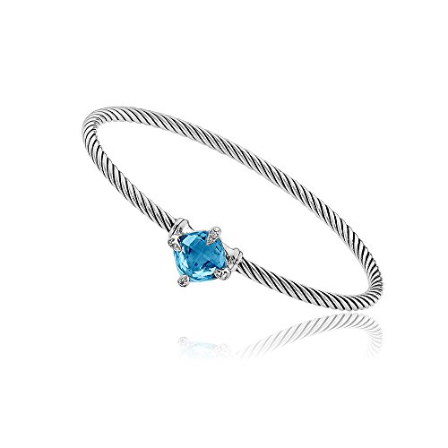 David Yurman Chatelaine Hampton Blue Topaz & Diamonds Bracelet B12881DSSAIBDI