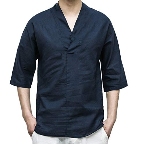 NIUQI Men Linen Patchwork Seven-Minute Sleeve Solid Color Loose V Neck Blouse T Shirt Dark Blue