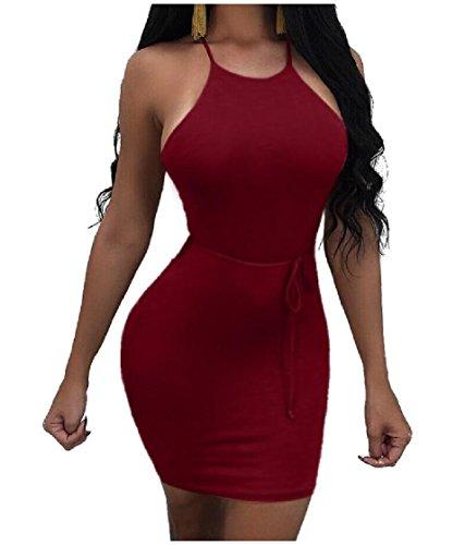 Hip Nightclub Red Skinny Strappy Backless Halter Stretchy Sleeveless Coolred Wine Dress Women Sexy Mini Bandage Hollowed 7pxAxSq