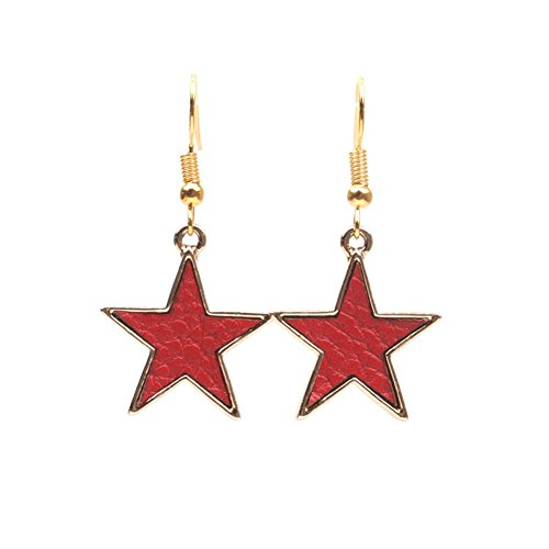 18K Gold Plated Vintage Red PU Leather Five-pointed star Charm Drop Dangle Earrings
