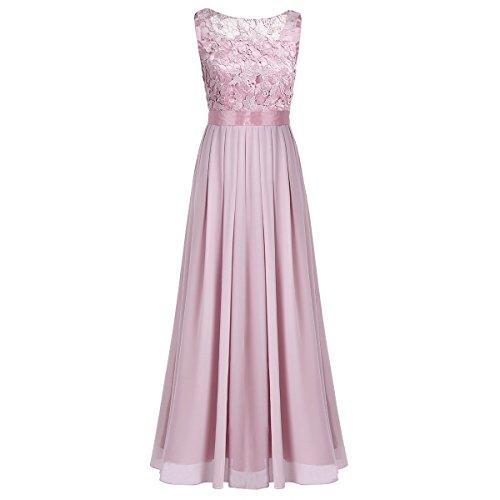 b844517f4 Freebily Vestido de Noche Boda Ceremonia para Mujer Vestido de Novia Baile  de Graduación para Chica Dusty Rose XXXL (Busto  104cm