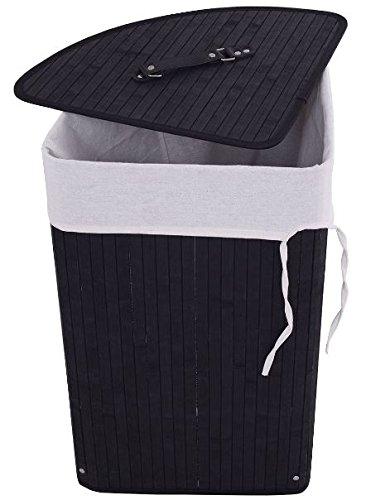 K&A Company Laundry Corner Bamboo Basket Hamper Bag Storage Bin Lid Cloth Washing Bathroom Clothes Cotton Wicker Tatkraft Home Black