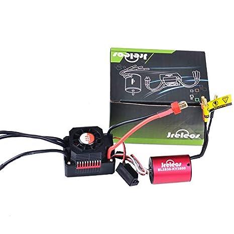 Jrelecs Newset 2838 3800KV 4P Sensorless Brushless Motor & All Waterproof  45A Brushless ESC Electronic Speed Controller for 1/12 1/14 1/16 1/18 RC Car