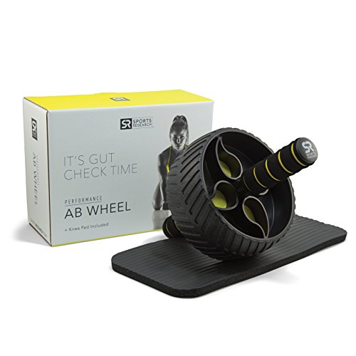 Sports Research Sweet Sweat Ab Wheel | Abdominal Exercise Wheel for Core Strength Training | with Knee Pad ()