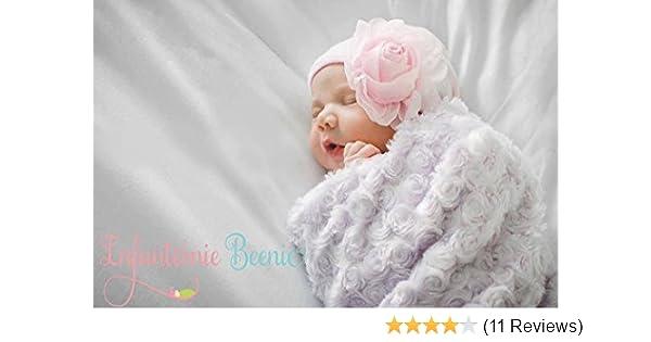 21ab3348d53 Amazon.com  Infanteenie Beenie pink chiffon rose baby girl newborn hospital  hat  Clothing