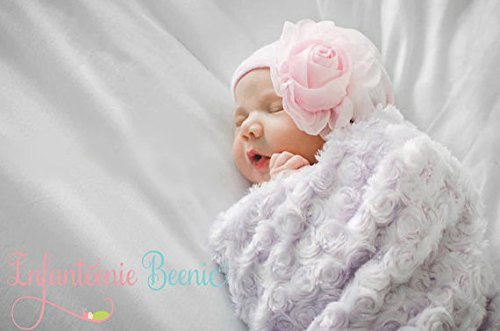 34d22b76a03 Image Unavailable. Image not available for. Color  Infanteenie Beenie pink  chiffon rose baby girl newborn hospital hat