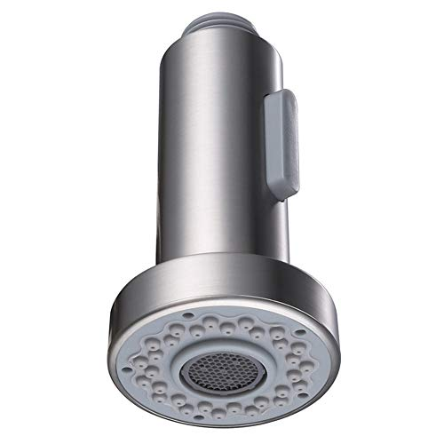 Kitchen Faucet Sprayer Head, Angle Simple Pull Out Sink Faucet Spray Head Nozzle Kitchen Pull Down Faucet Nozzle Spout Replacement Part 2 Functions, Brushed ()
