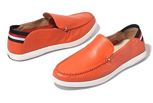 Happyshop (tm) Zapato Mocasín De Cuero Para Hombre Casual Sunmer Slip-on Loafers Naranja