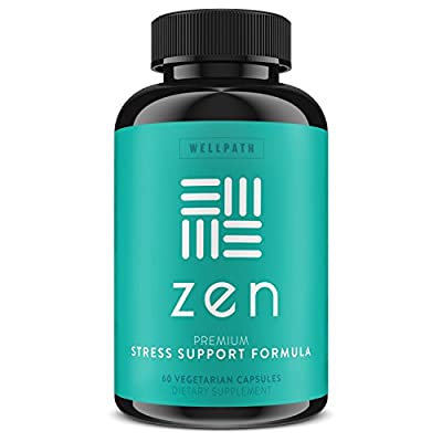 ZEN Premium Anxiety and Stress Relief Supplement - All Natural Herbal Formula Developed to Promote Calm, Positive Mood - With L-Theanine, Rhodiola Rosea, Ashwaghanda & Hawthorne - 60 Veg. Capsules