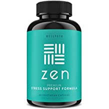 ZEN Premium Anxiety and Stress Relief Supplement - Natural Herbal Formula Developed to Promote Calm, Positive Mood - With Ashwagandha, L-Theanine, Rhodiola Rosea, & Hawthorne - 60 Veg. Capsules