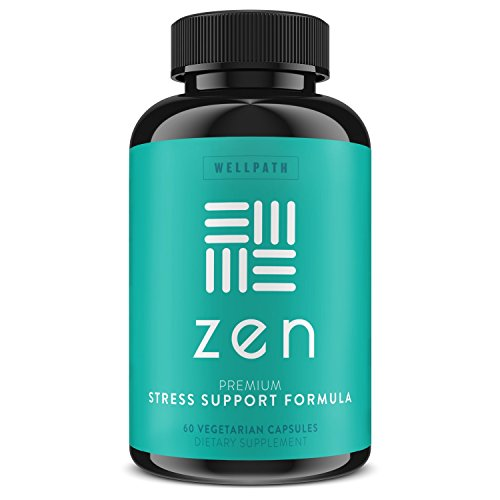 ZEN Premium Anxiety and Stress Relief Supplement – Natural Herbal Formula Developed to Promote Calm, Positive Mood – With Ashwagandha, L-Theanine, Rhodiola Rosea, & Hawthorne – 60 Veg. Capsules
