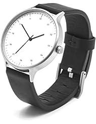 BIJOUONE B302 Unique Minimalist White Dial Stainless Steel Swiss Quartz Analog Black Leather Watch