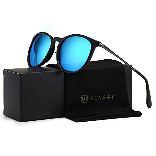 SUNGAIT Vintage Round Sunglasses for Women Classic Retro Designer Style Black Frame (Glossy Finish) /Blue Lens 1567 LHKLA