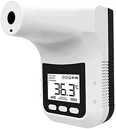 Triggers Alarm When Fever Detected Wall-Mounted Infrared Forehead K3 Thermometer Non-Contact Instant Reading Digital Temperature Detector No Battery Include