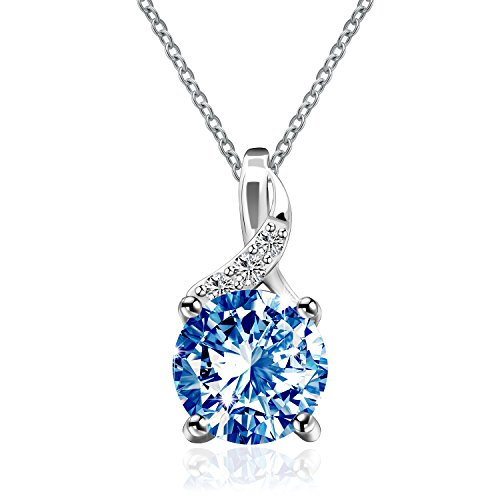 Silver Solitaire Pendant Sterling Silver synthetic Round Cut Topaz Blue color Crystal Pendant Necklace For Women You Are My Only One Blue Topaz Color Solitaire