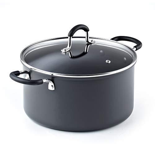 Cook N Home 02634 6QT/24CM Anodized Nonstick Casserole, 6Quarts, Black