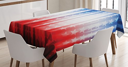 American Flag Decor Tablecloth by Ambesonne, Abstract Backgr