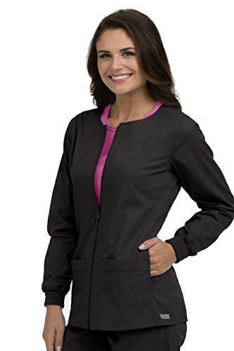 Med Couture Signature Women's Zip Front Warm Up Scrub Jacket, Black, Medium (Scrub Jackets For Nurses)