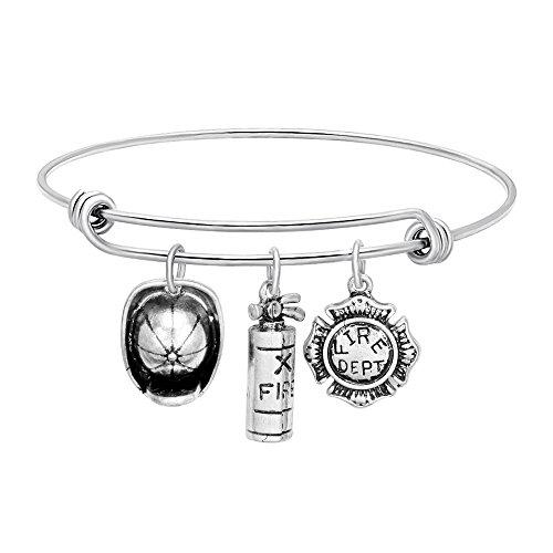 - SENFAI Firefighter Maltese Cross Charms Bracelet for Fire Man Wife, Girlfriend, Mom Fire Dept Women Jewelry (Fire Cap + Fire Extinguisher + Cross)