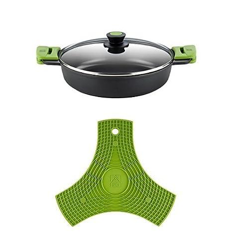BRA PRIOR - Cacerola baja con tapa de cristal y asas de silicona, apta para todo tipo de cocinas incluida inducción y horno, 24 cm