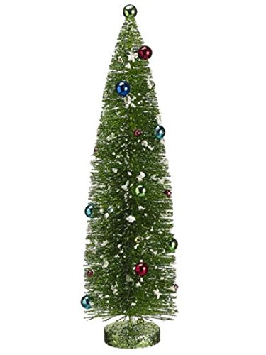 allstate unlit pre decorated flocked glitter bottle brush christmas tree 18 - Pre Decorated Christmas Trees