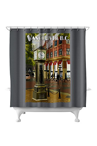 Vancouver, BC, Canada - Steam Clock (71x74 Polyester Shower Curtain) (Pottery Barn Clock)