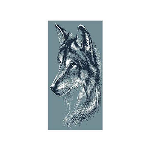 3D Decorative Film Privacy Window Film No Glue,Animal Decor,Wild Timber Wolf Portrait Hunter Exotic Creature Mystery Mammal Artsy Graphic,Slate Blue,for Home&Office