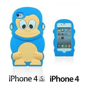LJF phone case OnlineBestDigital - Monkey Style 3D Silicon Case for Apple iPhone 4S / Apple iPhone 4 - Light Blue