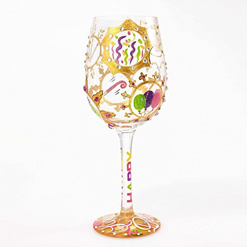 "Designs by Lolita ""Queen For a Day"" Hand-painted Artisan Wine Glass, 15 (Design Wine Glass)"