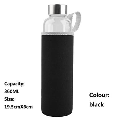 lkklily-tempered cristal botella de agua portátil deporte vasos para vasos de coches leak-