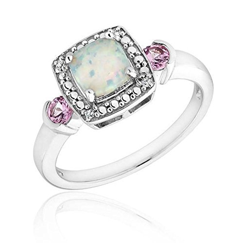 Created Opal, Created Pink Sapphire, and Diamond Ring - Size 7 PDF