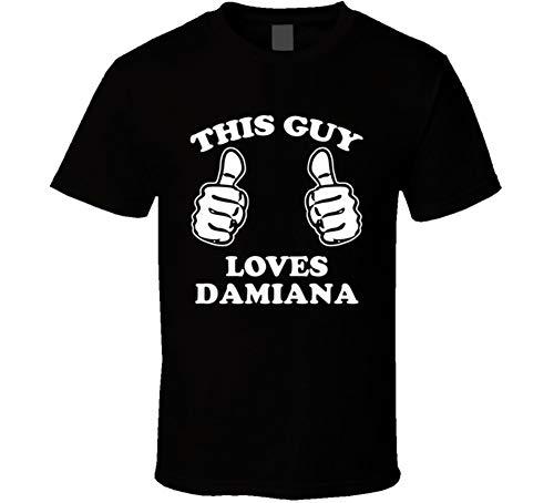 Damiana Tee (This Guy Loves Damiana Fun Retro Favorite Food T Shirt XL Black)