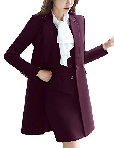 MFrannie Women Notch Lapel Business Work OL Slimming Fit Long Blazer Maroon 4 (Maroon Coat)