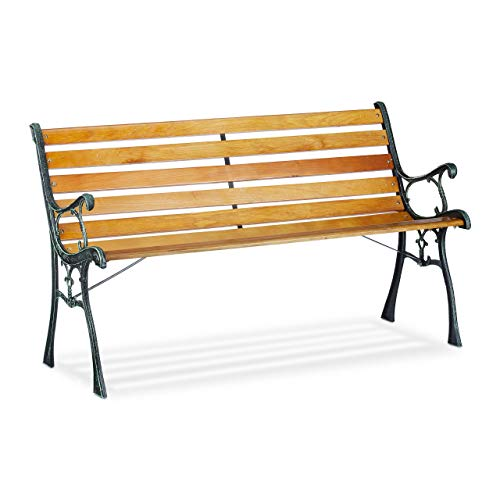Relaxdays Garden Bench, 2-Seater, Wooden Slats, Cast Iron, Outdoor Balcony & Patio Seating HWD 73.5x126x52.5 cm, Natural…