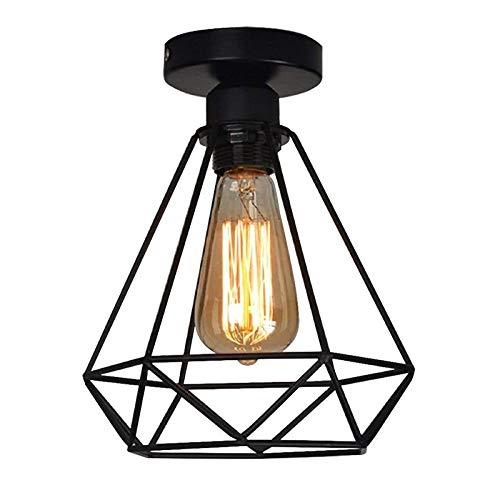 Lampara del Techo Vintage Hierro, Retro Colgante de Techo Industrial Luz, Lámpara de techo Vintage Industrial, E27…