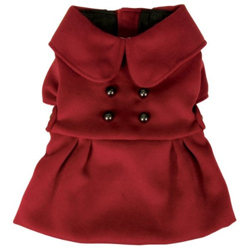Dogit Style Military Dog Peacoat, Small, Red, My Pet Supplies