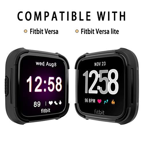 Landhoo Fitbit Versa Screen Protector Versa Lite Case, Shock Proof Bumper Cover Scratch Resistant Protective Rugged Case Replacement for Fitbit Versa & Versa Lite Smart Watch (Black)
