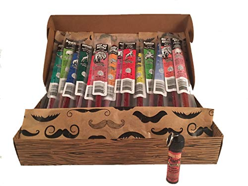 Gift Crate - Buffalo Bob's - Wild Game Meat Sticks - 15 Piece Sampler Gift Pack - Plus Bonus Pointed Flavor Cinnamon Toothpicks - The Perfect Father's Day Gift for All the Wonderful Dads in Your Life!