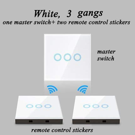 White 3 gang 1 and 2 Smart Light Switch Wireless Wall Interruptor Touch Control Remote Control(color  White 1 Gang 1 and 1)
